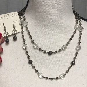 NWT WHBM Clear Gray Shimmer Bead Necklace Earring